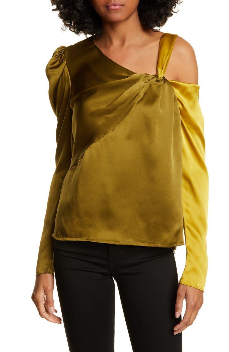 AMUR Mabel Two-Tone Silk Satin Top, Main, color, 800