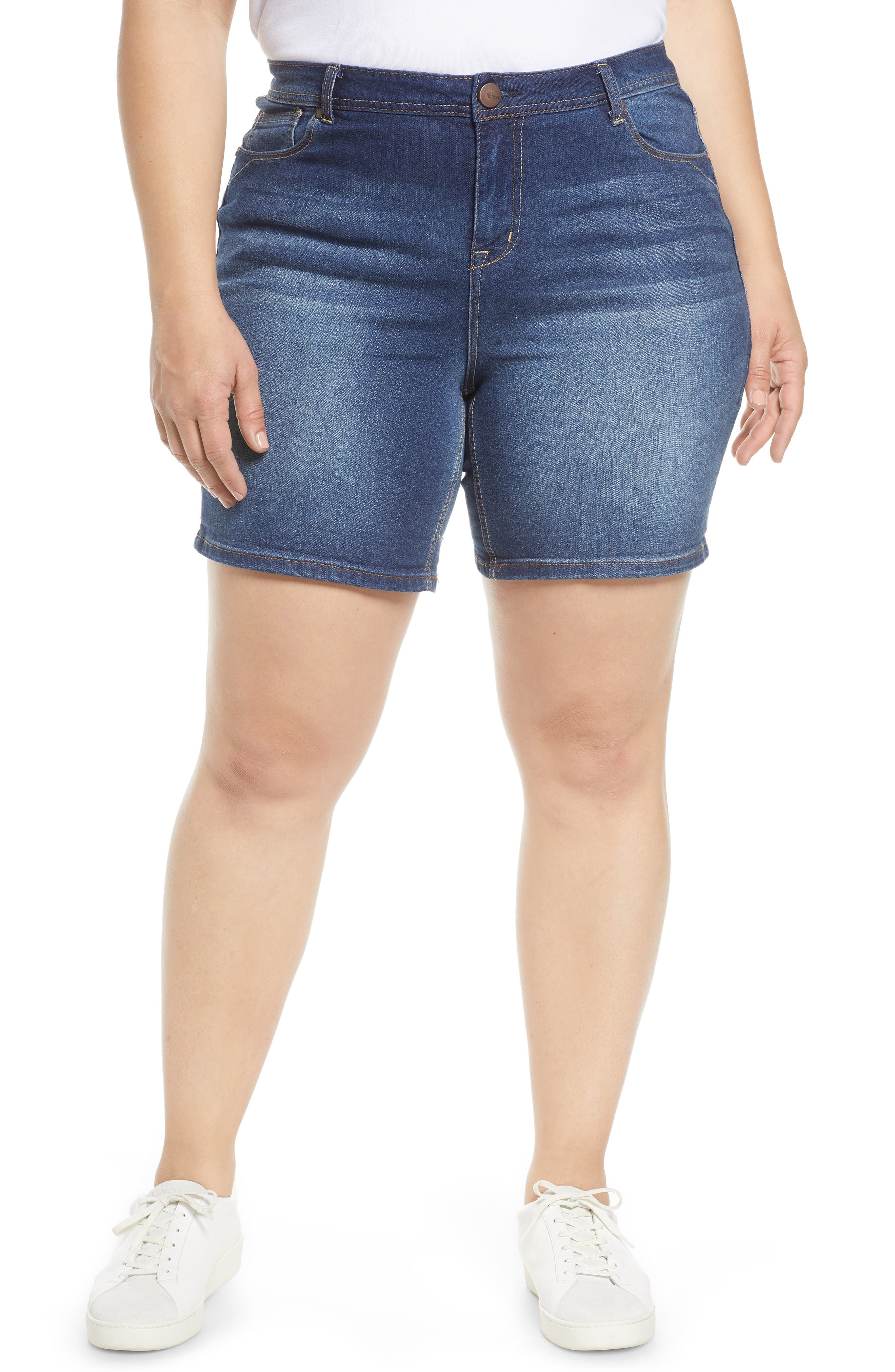 These soft and stretchy denim shorts come in a longer length for a bit more coverage. Style Name:1822 Denim Shorts (Ziggy) (Plus Size). Style Number: 5998902. Available in stores.