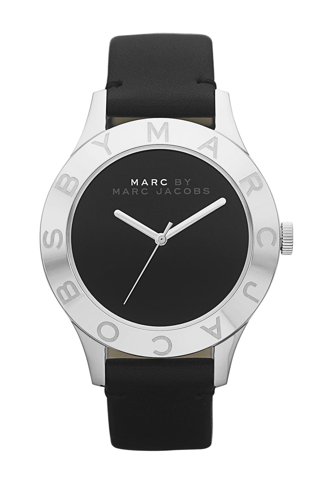 'Blade' Round Leather Strap Watch, Main, color, 001