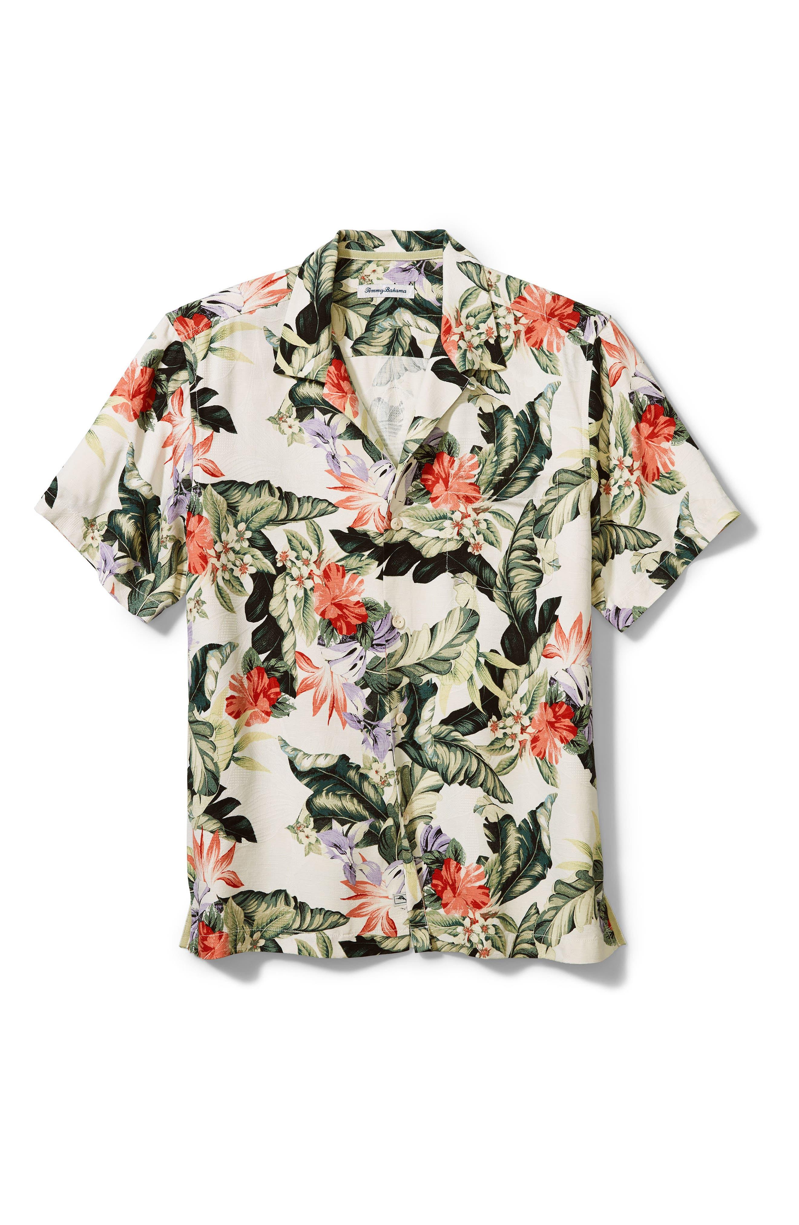 Men's Big & Tall Tommy Bahama Garden Of Hope & Courage Short Sleeve Silk Button-Up Shirt
