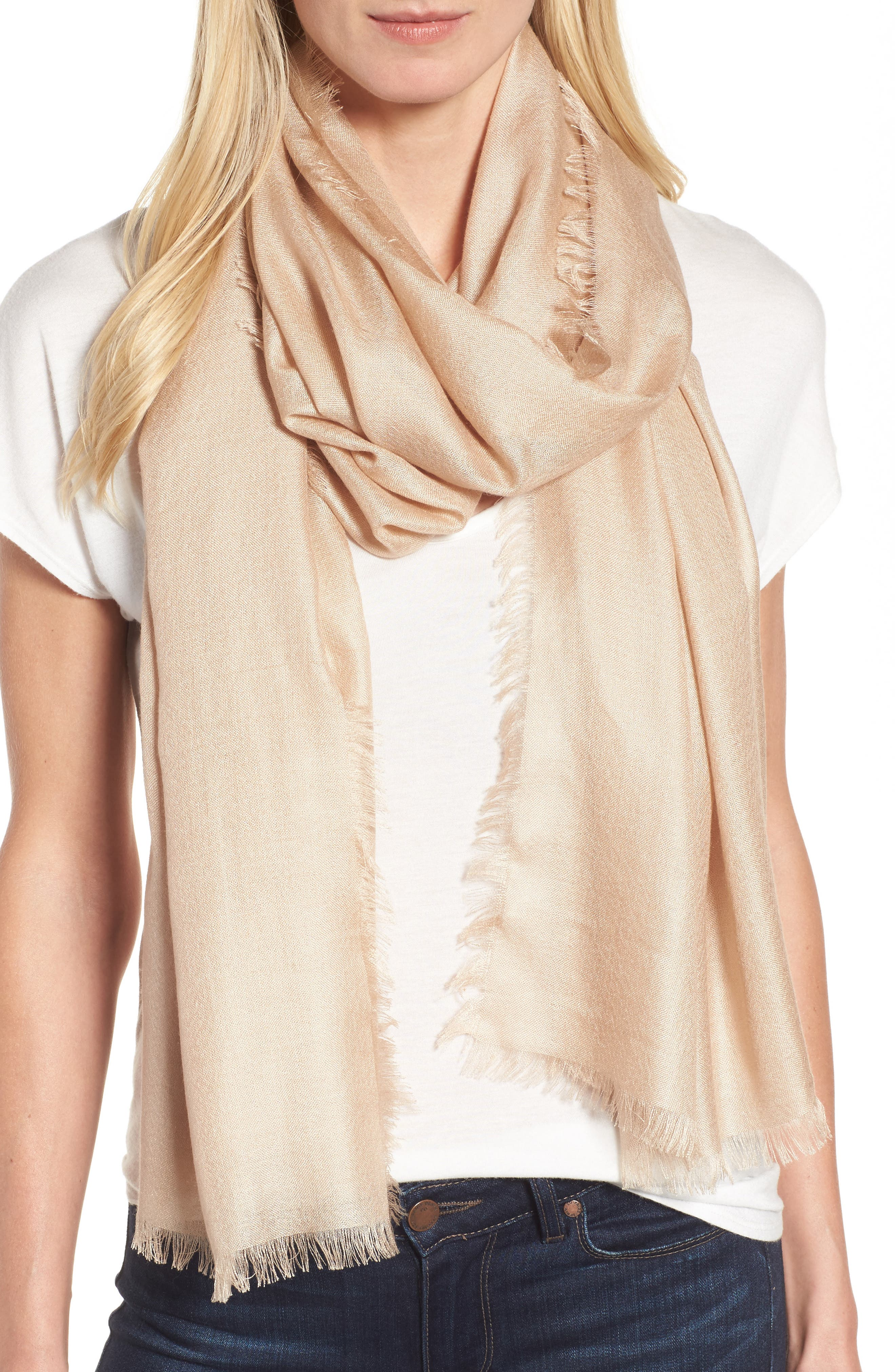 Delicate eyelash fringe frames an airy, ethereal scarf woven from soft silk and cashmere. Style Name: Nordstrom Cashmere & Silk Wrap. Style Number: 355334. Available in stores.