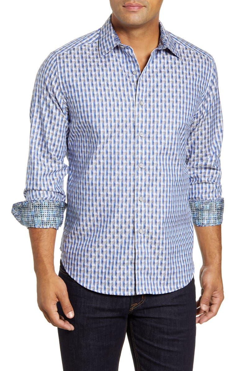 ROBERT GRAHAM Berman Regular Fit Long Sleeve Geo Pattern Button-Up Sport Shirt, Main, color, NAVY