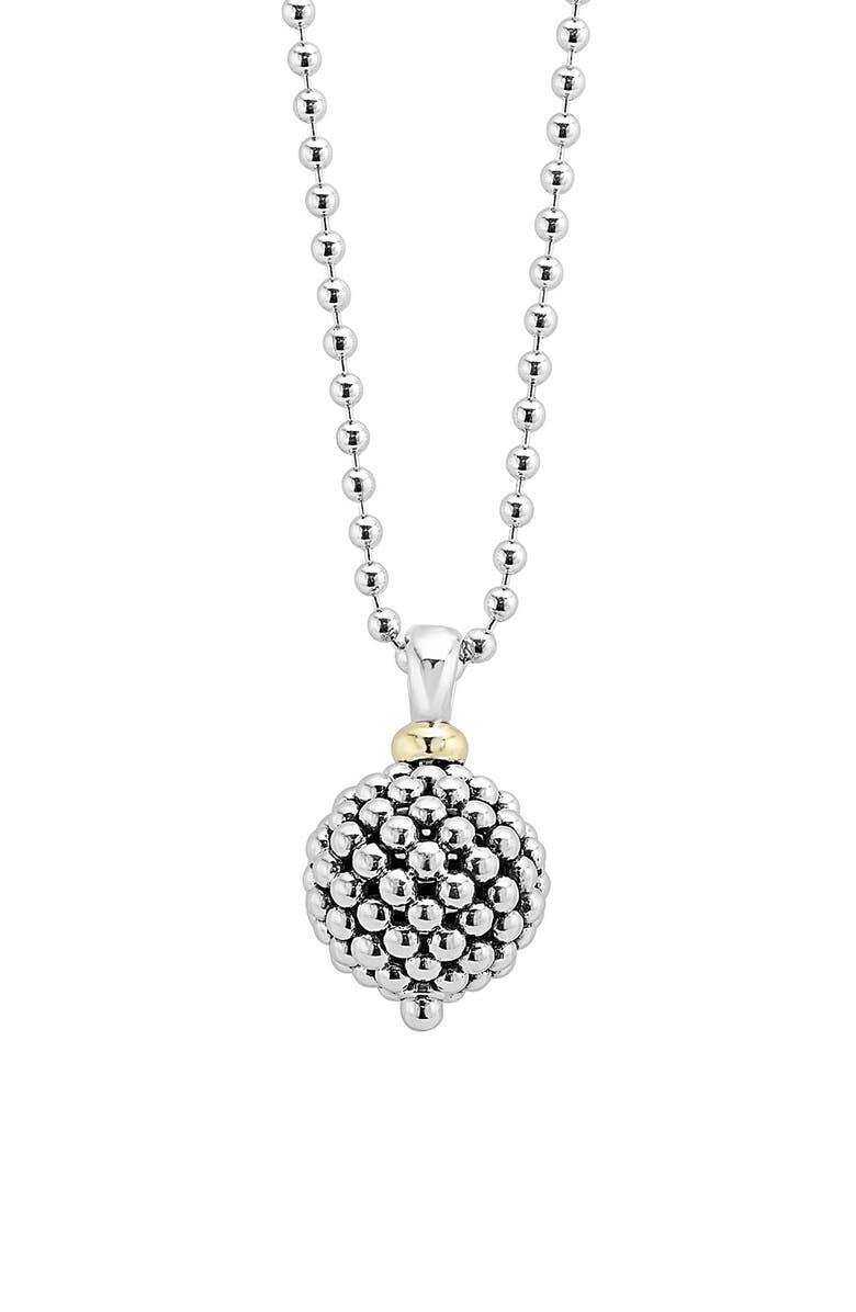 LAGOS Sterling Silver Ball Long Pendant Necklace, Main, color, CAVIAR BALL