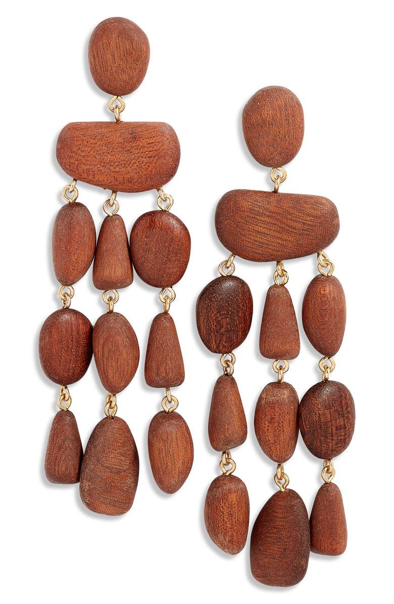 CULT GAIA Tallulah Wood Chandelier Earrings, Main, color, MAHOGANY