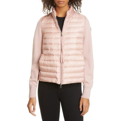 Moncler Quilted Down & Wool Short Jacket, Pink