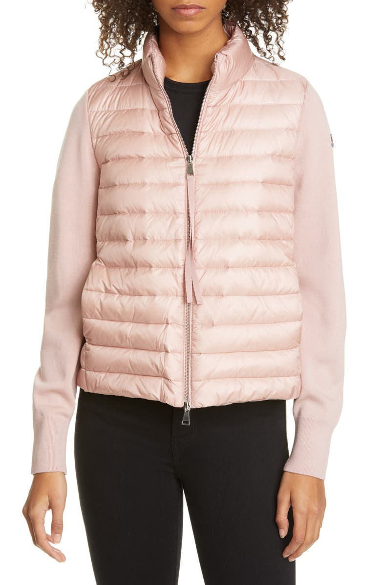 MONCLER Quilted Down & Wool Short Jacket, Main, color, BLUSH