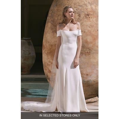 Watters English Crepe Trumpet Wedding Dress, Size - Ivory