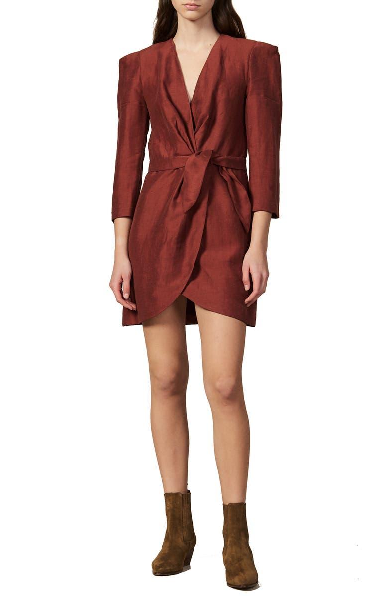SANDRO Vera V-Neck Tulip Hem Minidress, Main, color, WINE