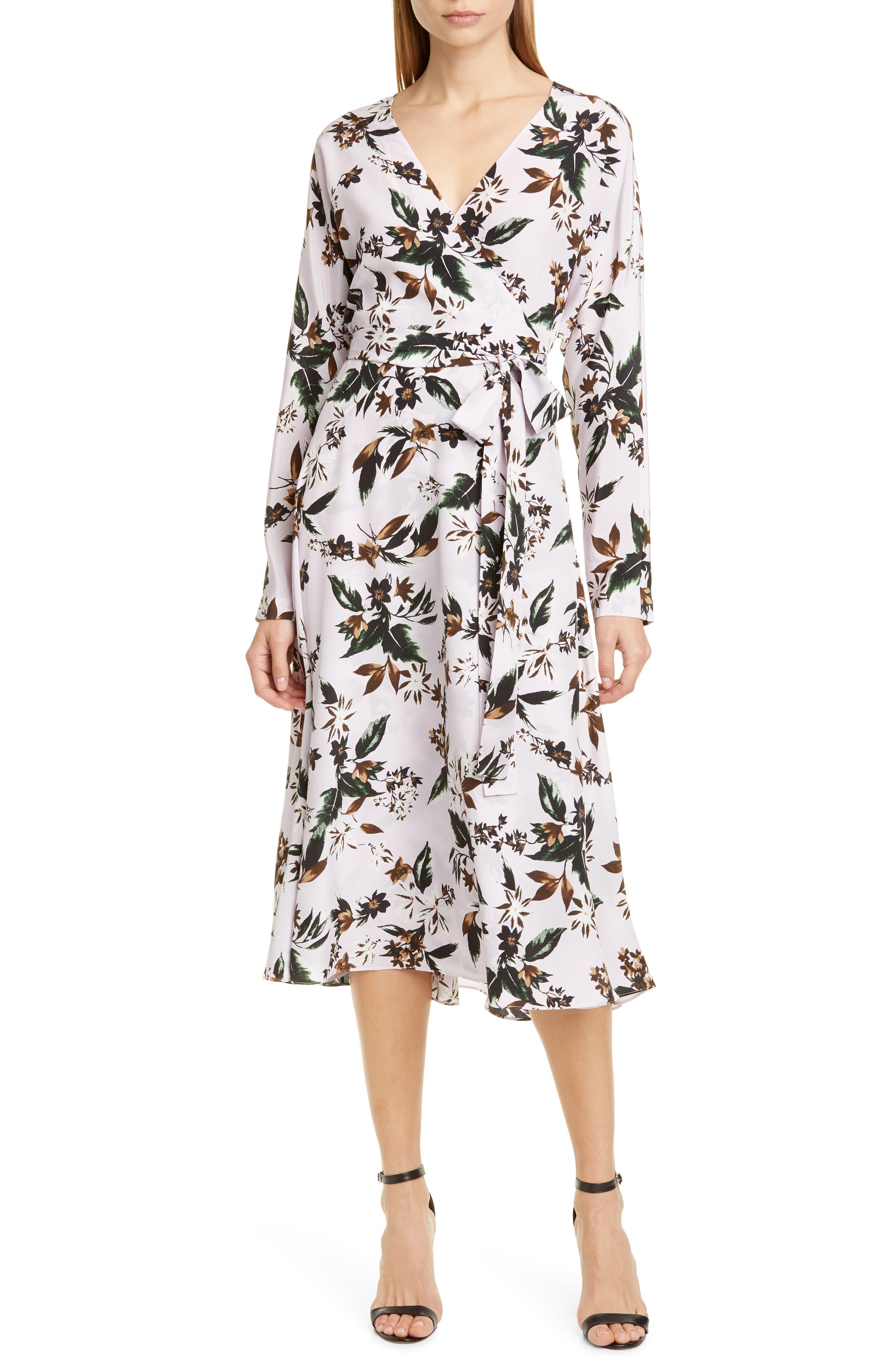Dvf Elle Floral Long Sleeve Silk Wrap Dress, Purple