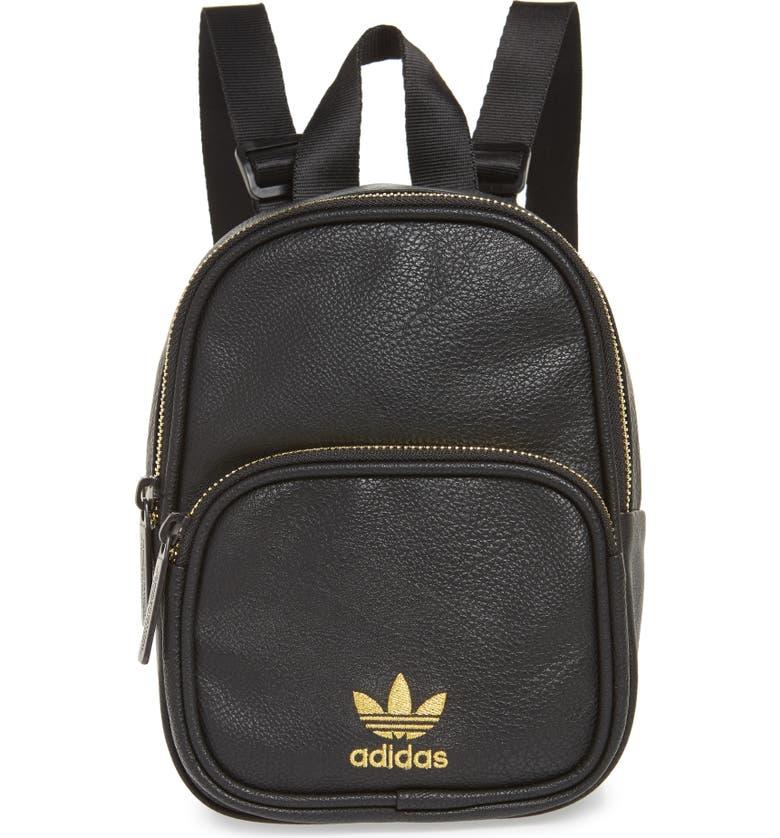 ADIDAS Originals Mini Faux Leather Backpack, Main, color, 001
