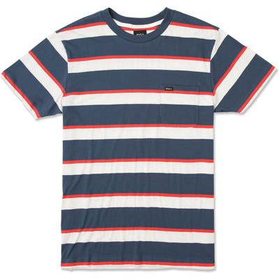 Rvca Fjord Stripe Pocket T-Shirt, Blue