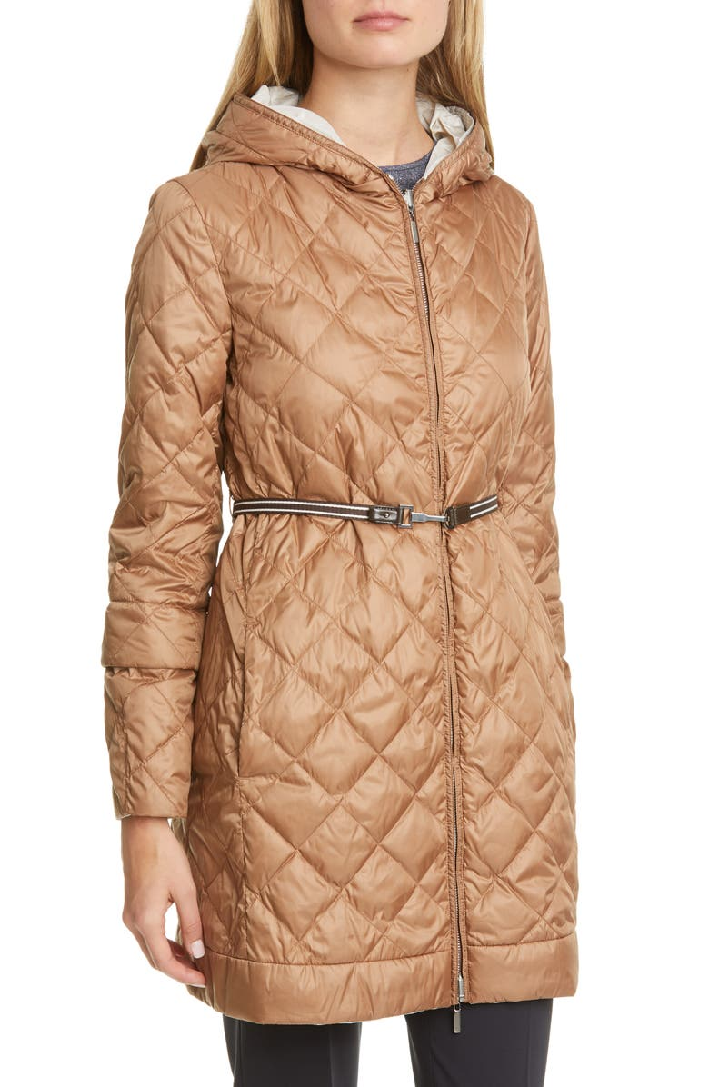 MAX MARA Enovel Reversible Hooded Down Jacket with Detachable Cuffs, Main, color, BROWN