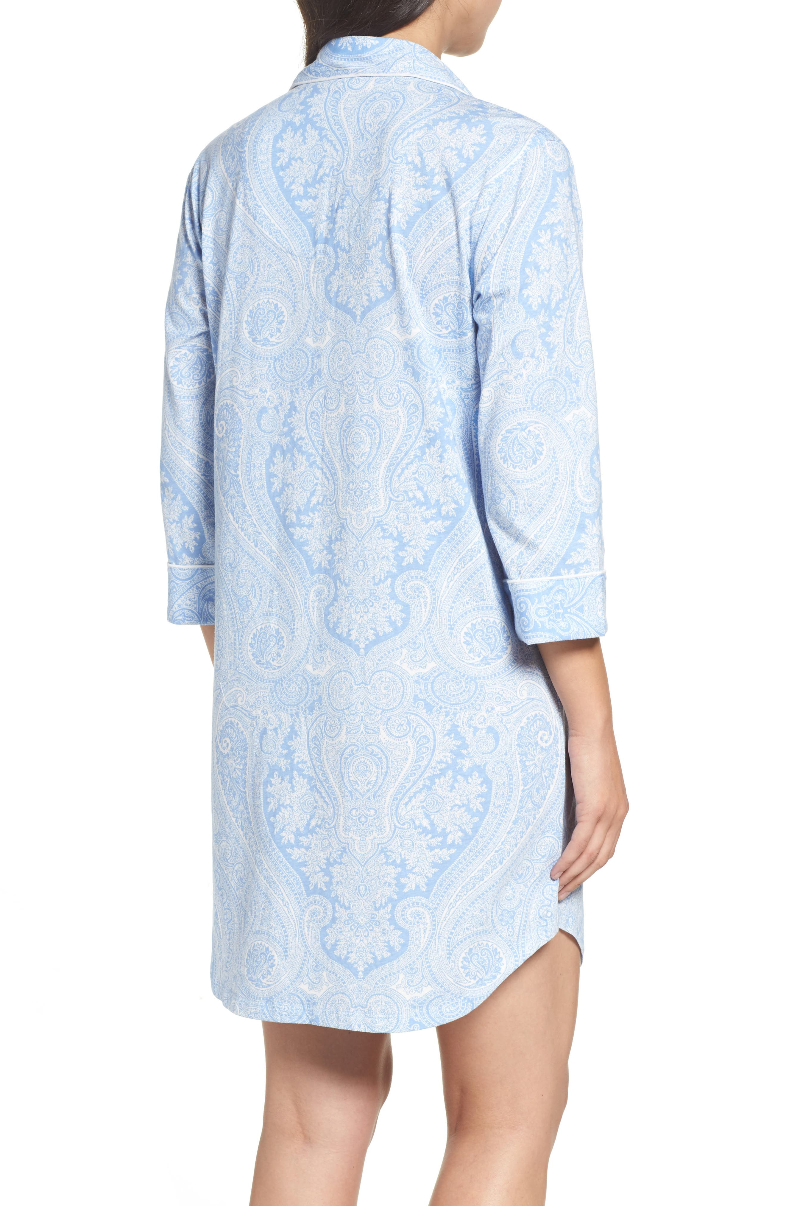 ,                             Jersey Sleep Shirt,                             Alternate thumbnail 2, color,                             BLUE PAISLEY