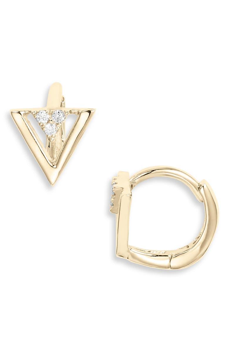 BONY LEVY Kiera Triangle Huggie Hoop Earrings, Main, color, DIAMOND/ YELLOW GOLD