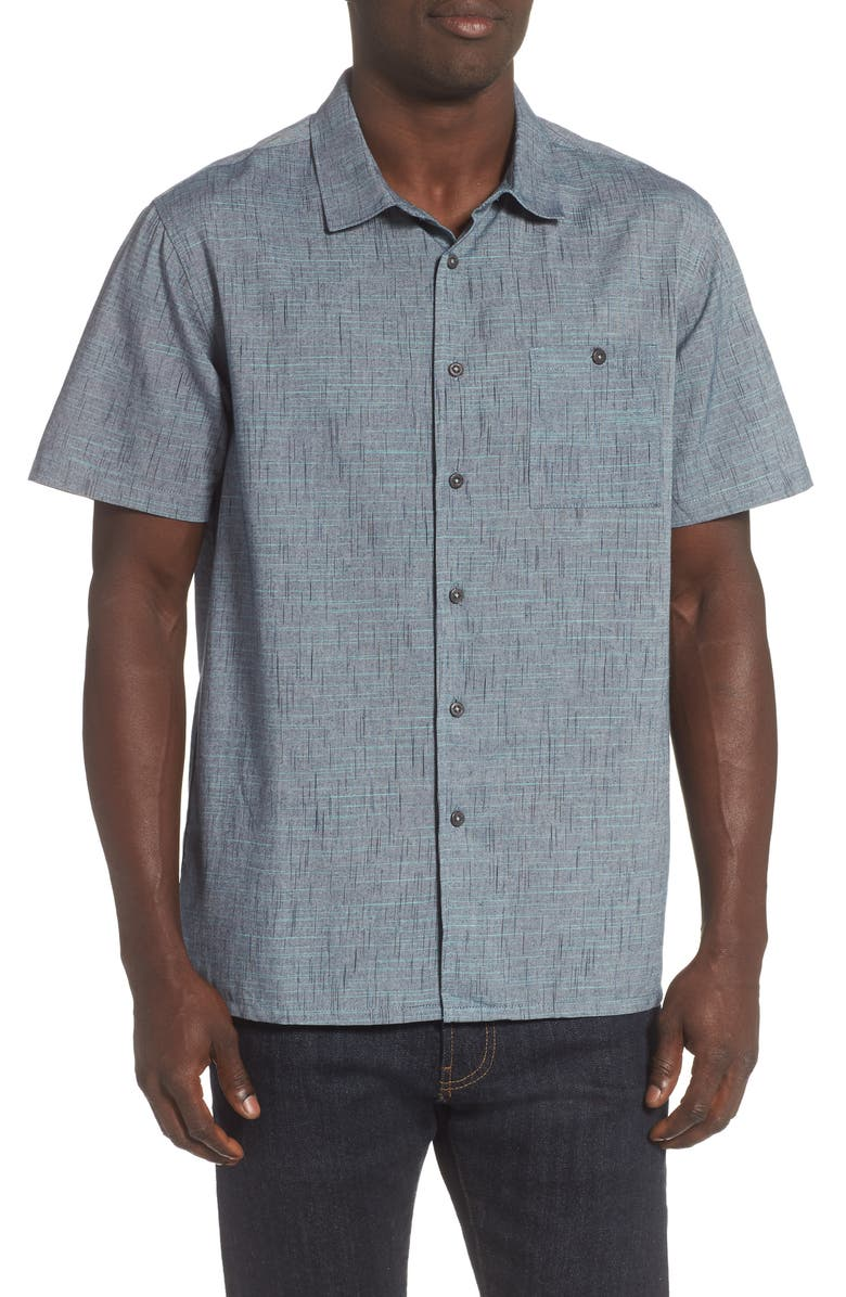 BILLABONG Shoreline Short Sleeve Button-Up Shirt, Main, color, BLUE MULTI