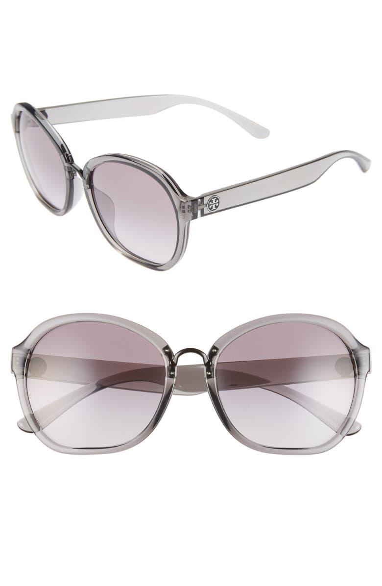 TORY BURCH 56mm Transparent Round Sunglasses, Main, color, TRANSPARENT GREY/ GREY