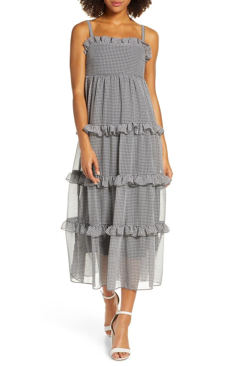 COOPER ST Sunday Girl Frill Check Chiffon Midi Sundress, Main, color, BLACK AND WHITE
