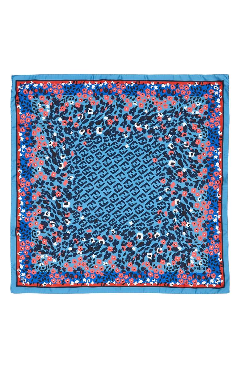 FENDI Floral Logo Silk Scarf, Main, color, F0QA2 BLUE