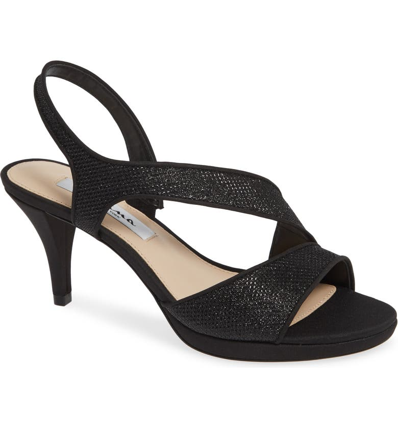 NINA Nasreen Asymmetrical Sandal, Main, color, BLACK FABRIC