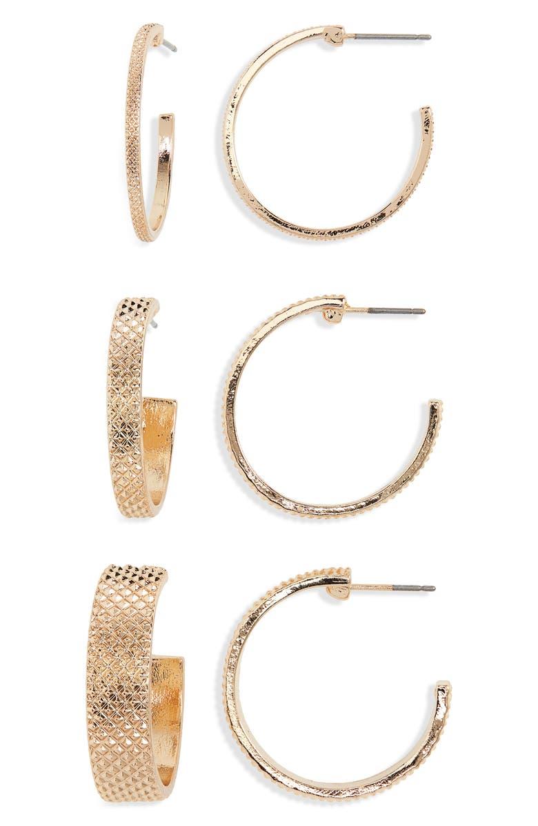 BP. 3-Pack Textured Geo Hoop Earrings, Main, color, GOLD