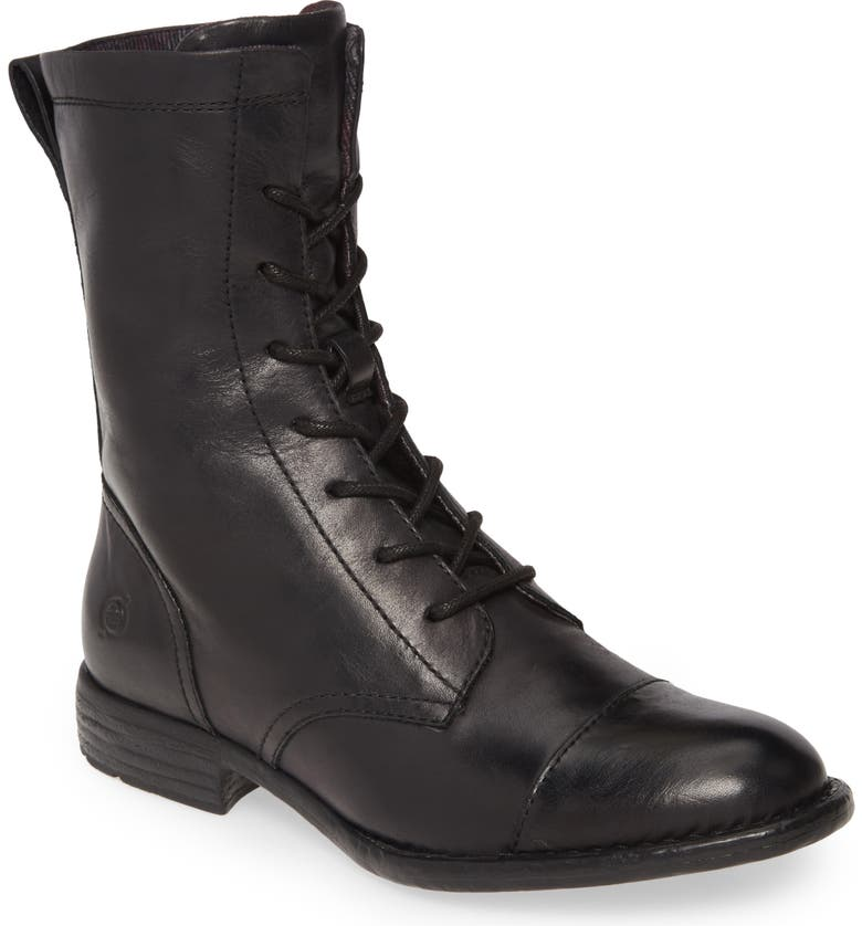BØRN Neon Lace-Up Boot, Main, color, BLACK LEATHER