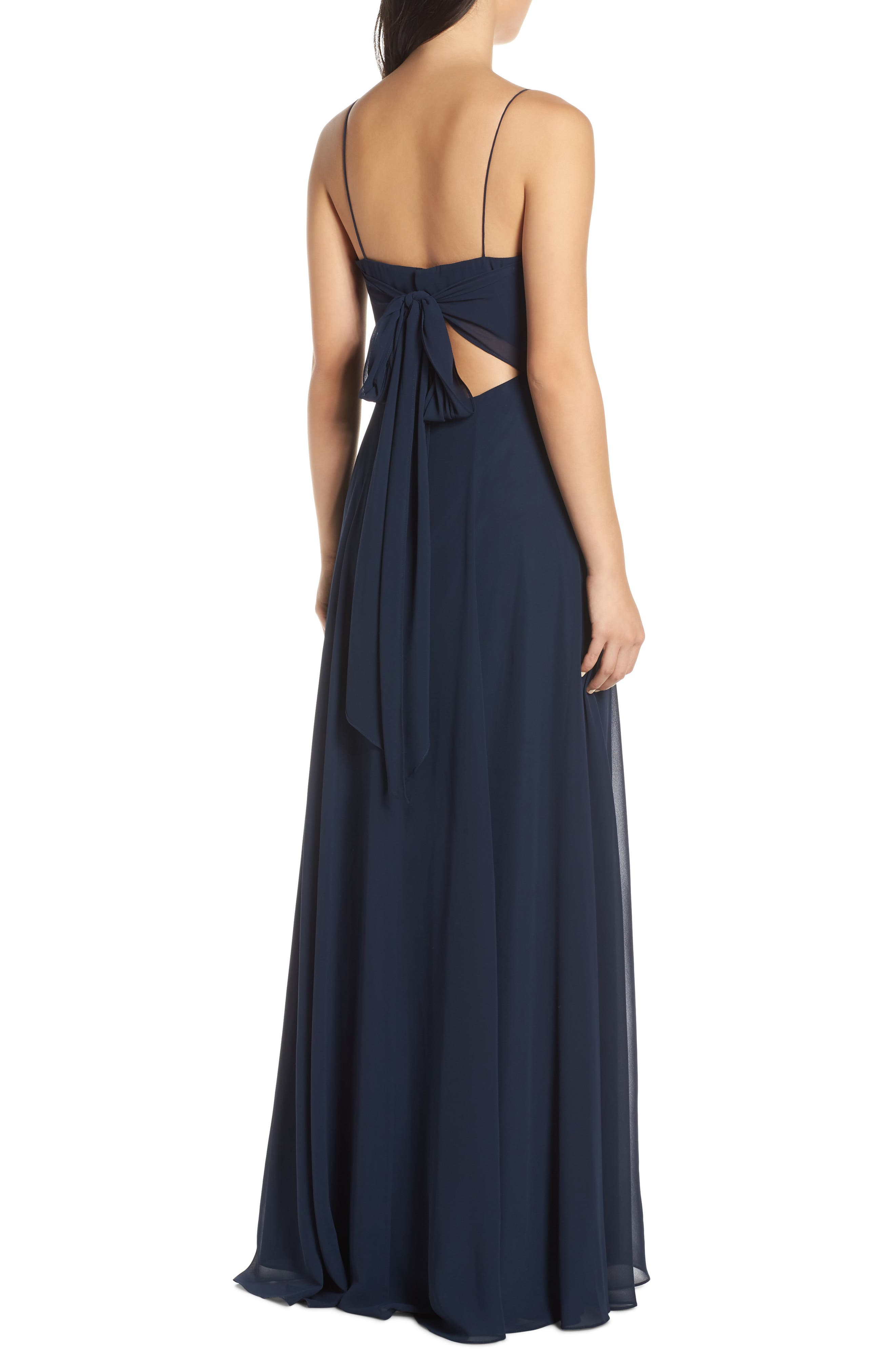 ,                             Kiara Bow Back Chiffon Evening Dress,                             Alternate thumbnail 2, color,                             NAVY