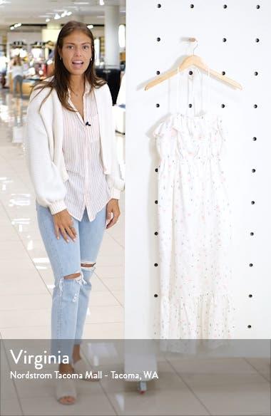 Floral Embroidery Cotton Blend Midi Dress, sales video thumbnail