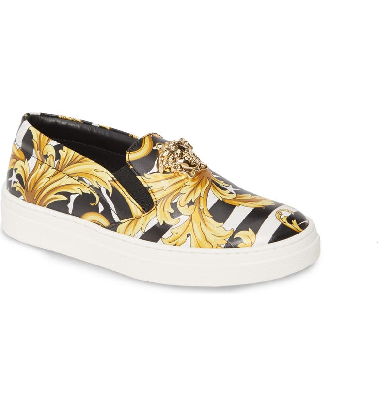 VERSACE Barocco Print Sneaker, Main, color, BLACK/ GOLD/ WHITE