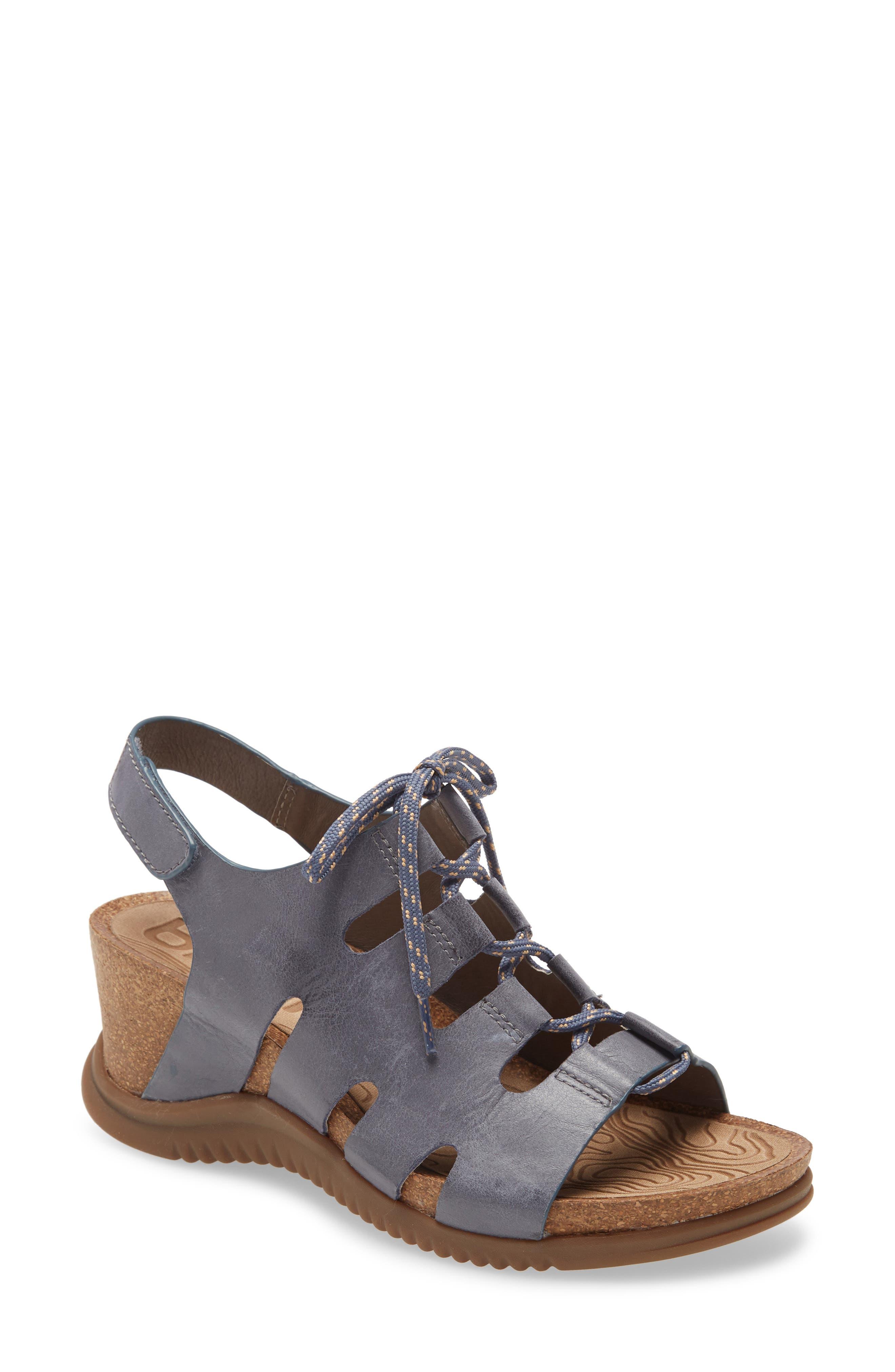 Women's Bionica Sorena Ghillie Wedge Sandal, Size 11 M - Blue