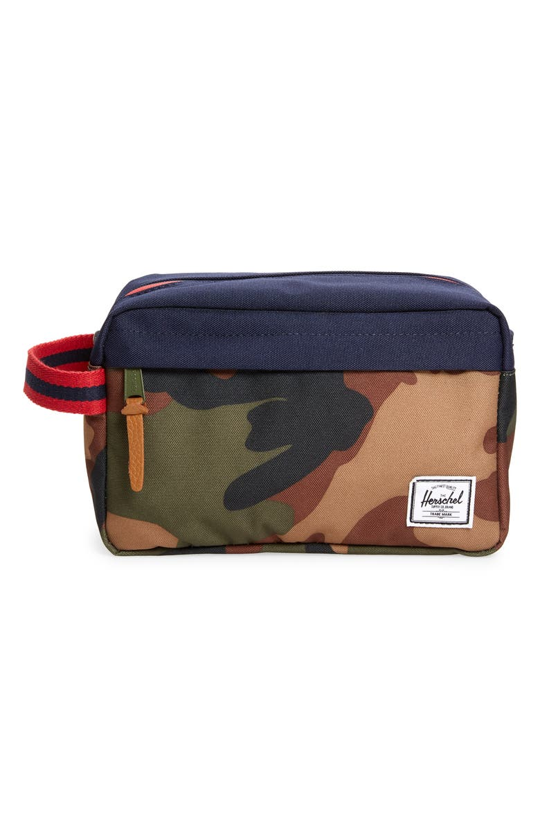 HERSCHEL SUPPLY CO. Chapter Dopp Kit, Main, color, WOODLAND CAMO/PEACOAT/TAN