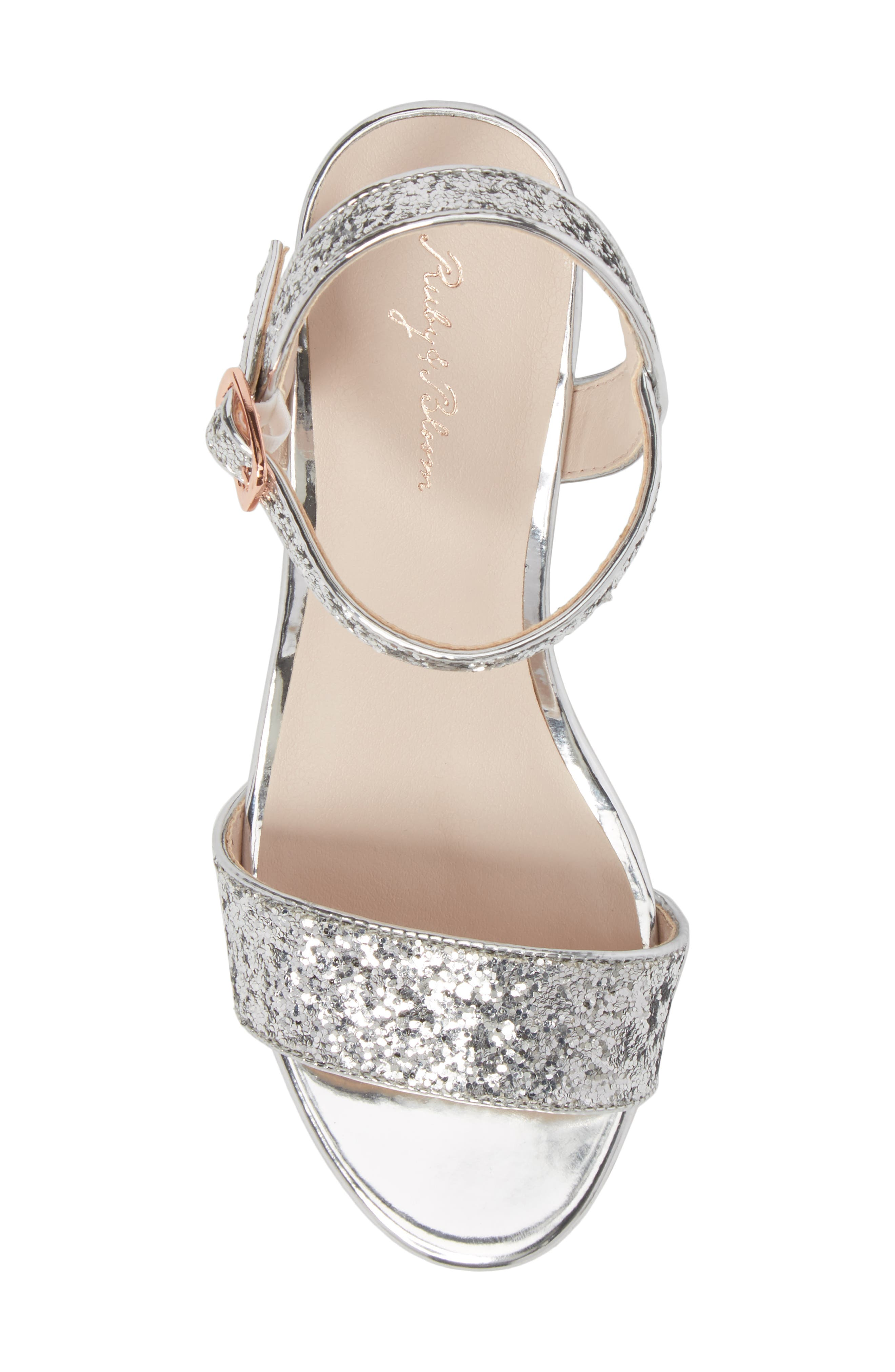 ,                             Danni Block Heel Sandal,                             Alternate thumbnail 5, color,                             SILVER GLITTER
