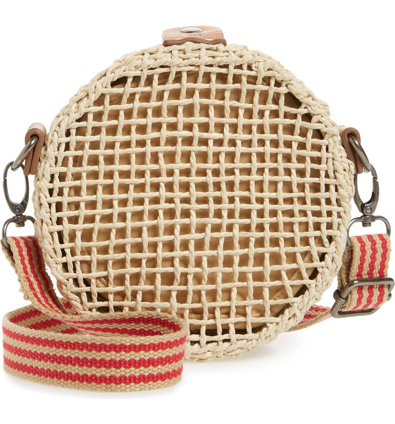 BRIXTON Ace Straw Circle Shoulder Bag, Main, color, NATURAL
