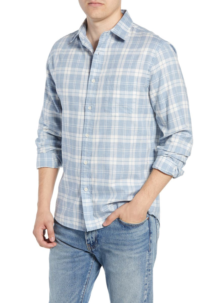 FAHERTY Ventura Plaid Shirt, Main, color, STEEL HEATHER PLAID