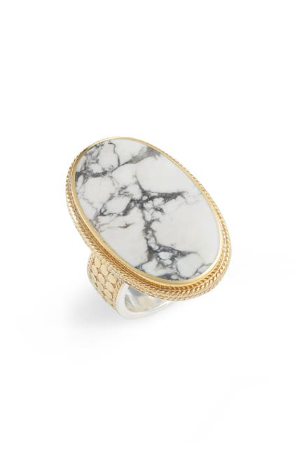 Image of Anna Beck 18K Gold Plated Sterling Silver Howlite Ring - Size 5