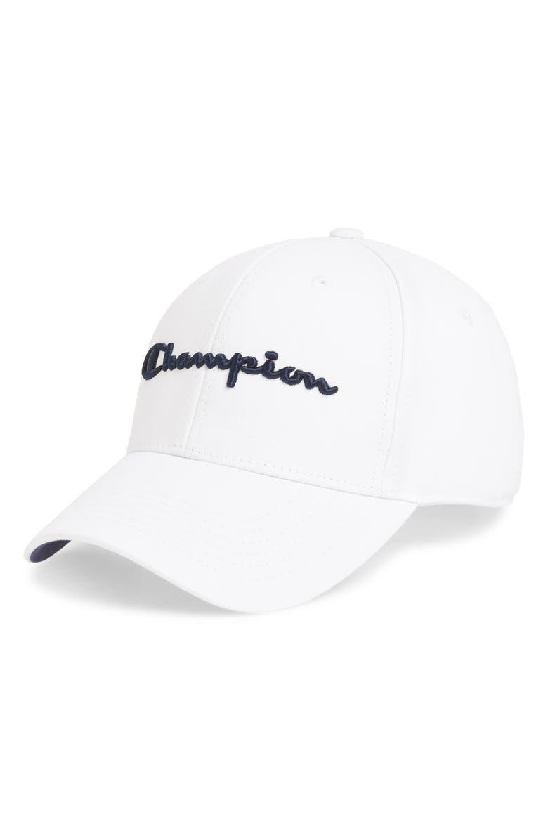 CHAMPION Classic Script Baseball Cap, Main, color, WHITE