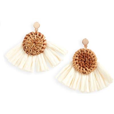 Knotty Raffia Fan Drop Earrings