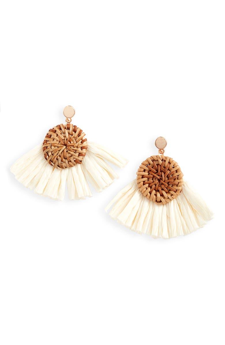 KNOTTY Raffia Fan Drop Earrings, Main, color, NATURAL