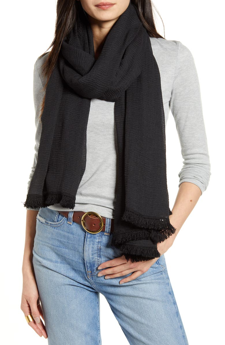 TREASURE & BOND Tassel Crinkle Scarf, Main, color, 001