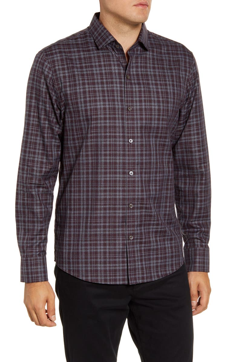 ZACHARY PRELL Thomas Regular Fit Plaid Button-Up Sport Shirt, Main, color, WINE