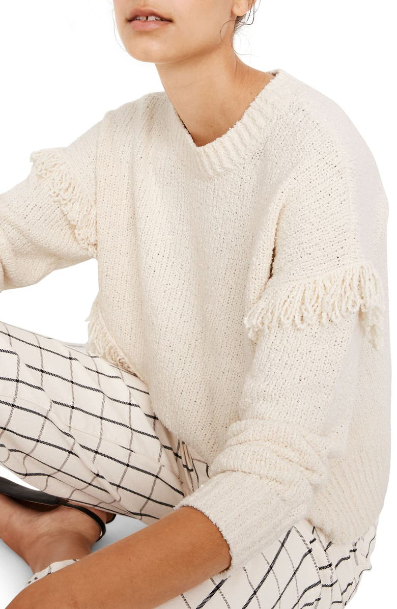 MADEWELL Montford Fringe Pullover Sweater, Main, color, 900