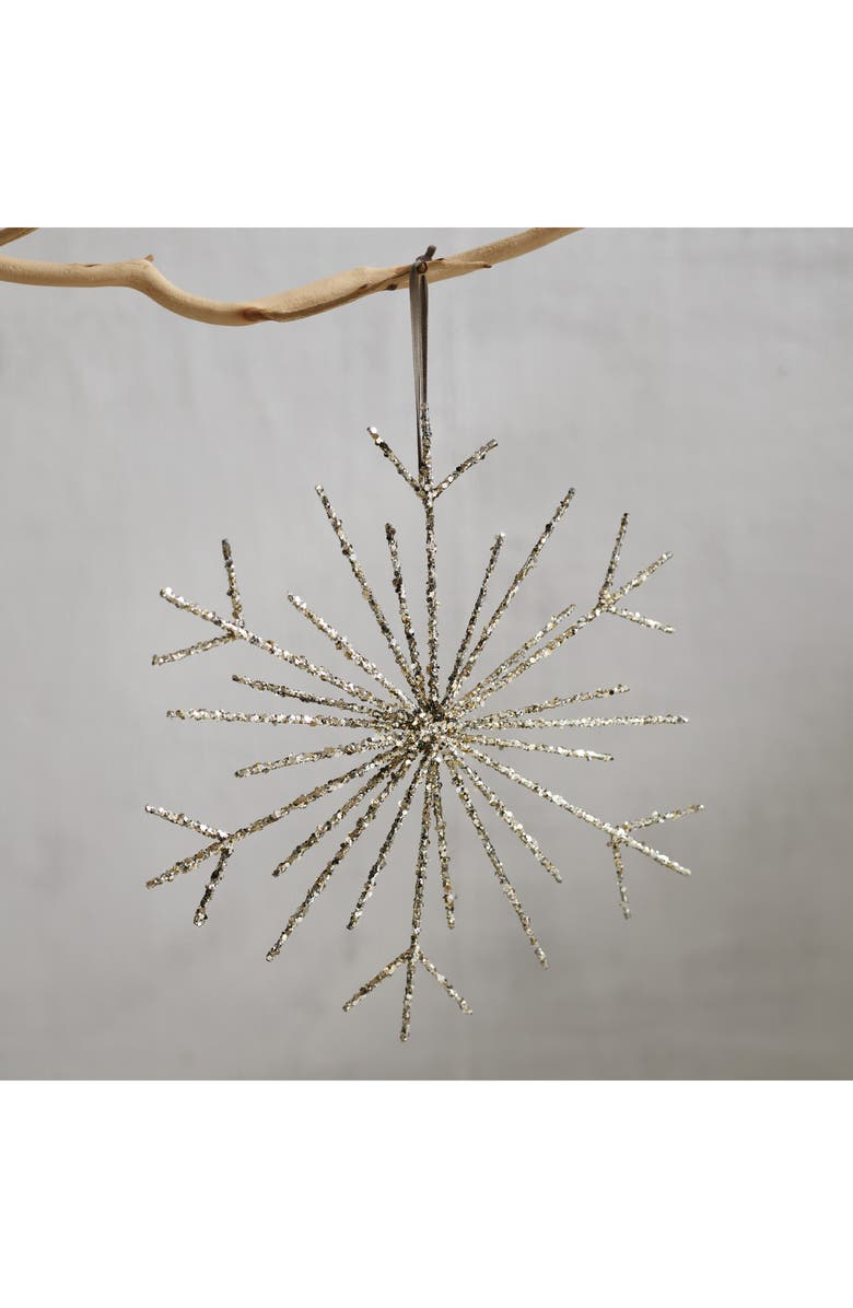 THE WHITE COMPANY Large Sequin Snowflake Christmas Tree Topper, Main, color, 040