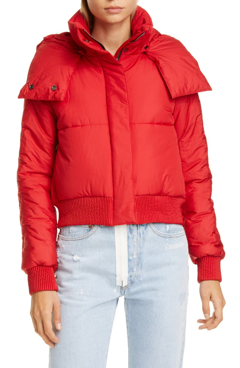 OFF-WHITE Crop Puffer Jacket, Main, color, RED