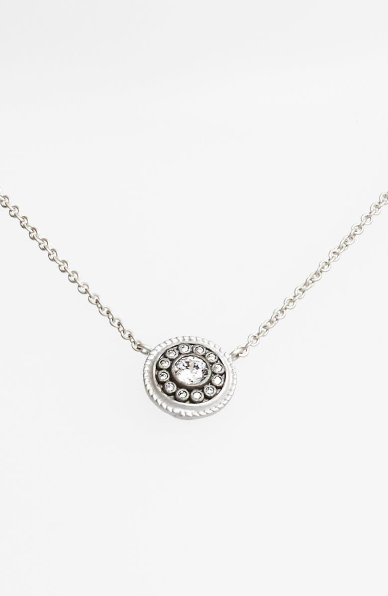 FREIDA ROTHMAN 'Hamptons' Nautical Button Pendant Necklace, Main, color, SILVER/ BLACK
