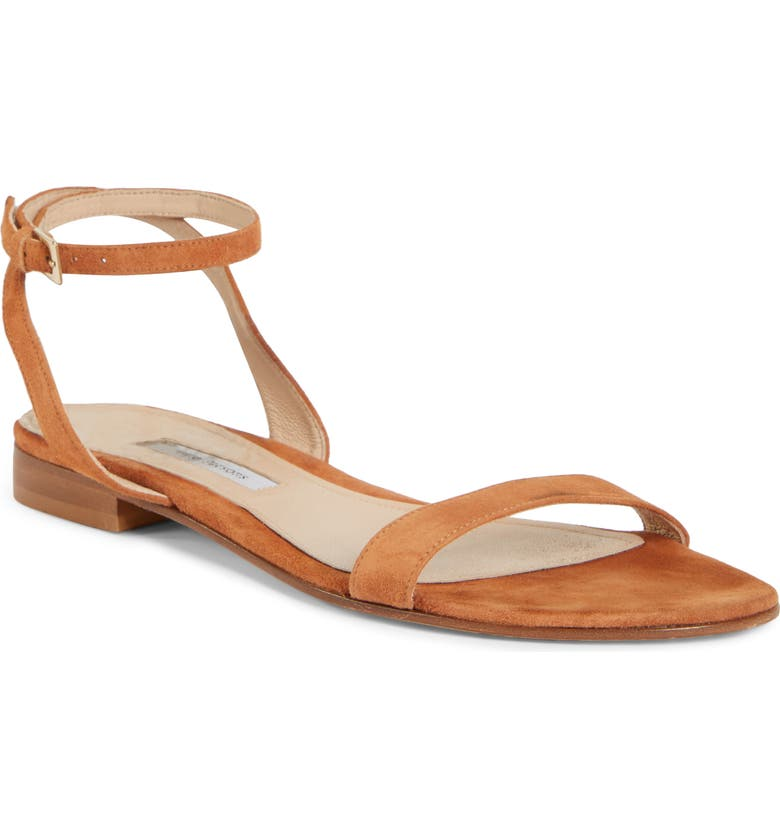 EMME PARSONS One Ankle Strap Flat Sandal, Main, color, FAWN