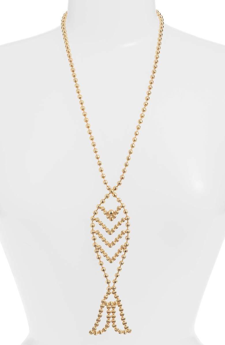 TORY BURCH Beaded Fish Pendant Necklace, Main, color, 710