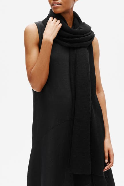 Image of Eileen Fisher Fine Organic Linen Crepe Knit Scarf