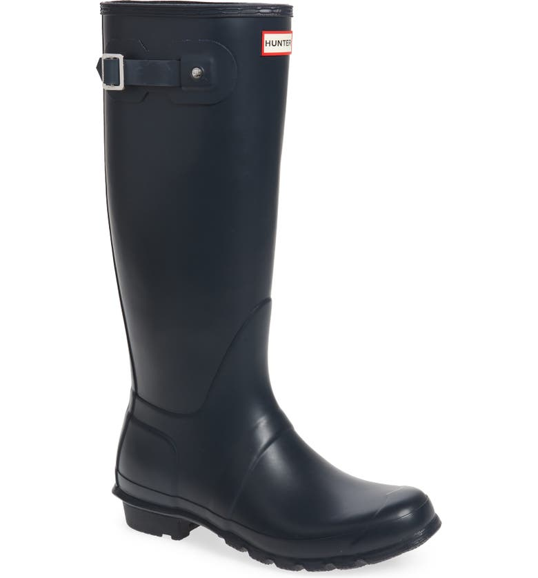 HUNTER Original Tall'Rain Boot, Main, color, NAVY MATTE