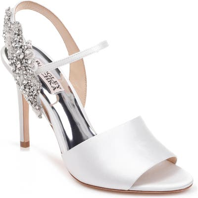 Badgley Mischka Lidia Embellished Sandal, White