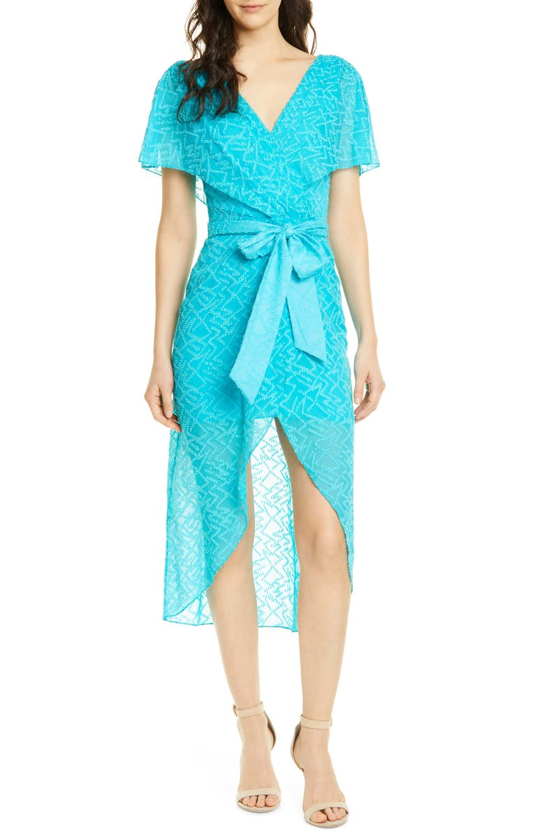 ALICE + OLIVIA Darva Faux Wrap Party Dress, Main, color, MARINE BLUE