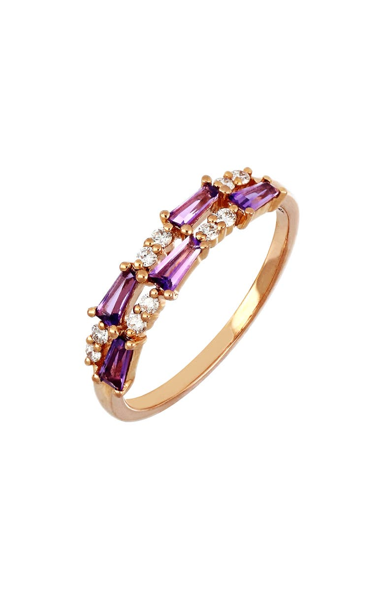 BONY LEVY Two-Row Amethyst & Diamond Ring, Main, color, ROSE GOLD/ AMETHYST